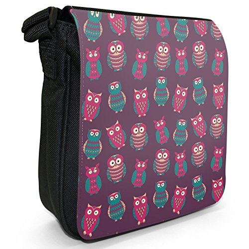 Big Eye-Carta da parati, motivo: gufo, colore: nero, Borsa a tracolla in tela, taglia: S Nero (Pink & Purple Pretty Owls)