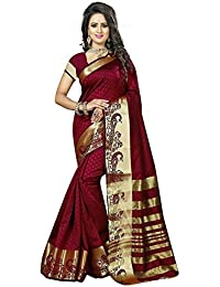 Crazy Women's Maroon Cotton Silk Sarees For Women With Blouse New Collection Sarees Party Wear Sarees
