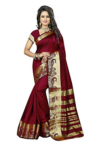 J B Fashion Women's maroon cotton silk saree with blouse piece (saress...