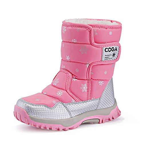 JACKSHIBO Mädchen Mode Warm Schneestiefel Wasserdichte Winterschuhe Kurzschaft Stiefel Snowboots Kinder,Rosa,EU32 (Shorts Husky Jungen)