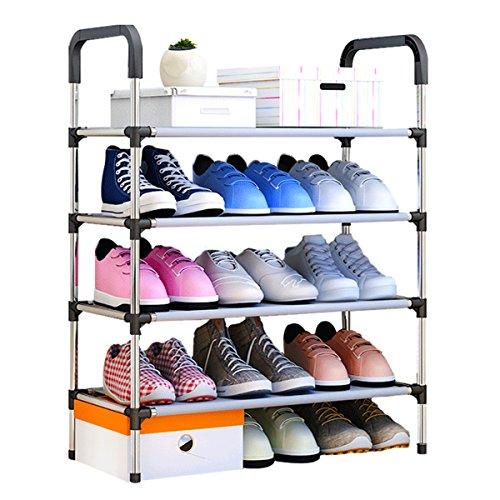 Udear scarpiera shoe rack 4 strati organizer scarpe armadio portascarpe cabina guardaroba in acciaio tessuto nero 60 * 30 * 85 cm