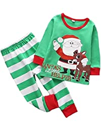 Niño Niña Navidad Pijama Cuello Ronda Manga Larga Camiseta + Pantalón otoño e invierno 2 Piezas Ropa de Conjunto 2-6 Años
