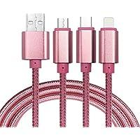 Cable del cargador del USB, USB micro trenzado durable multifuncional 3in1, tipo C, cable de carga micro del relámpago para el iPhone 7 5C 5S 6 6Plus, galaxia de Samsung, Huawei, Xiaomi, Meizu, ZTE, Lenovo, LG, Zenfone y el otro teléfono android(Oro rosa)