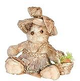 """Animali finti in legno """"Coniglietta contadina """" per decorazioni vetrina e giardino/casa,cm 25x16x28"""