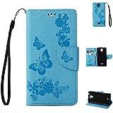 Wiko U feel Lite Handyhülle Book Case Wiko U feel Lite Hülle Klapphülle Tasche im Retro Wallet Design mit Praktischer Aufstellfunktion - Etui Blau