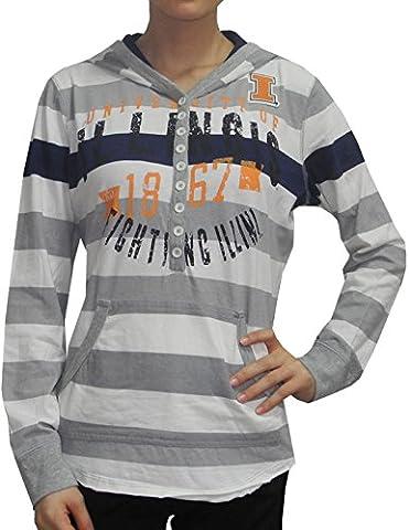 NCAA Illinois Fighting Illini Womens Lightweight Hoodie (Vintage Look) M Grey