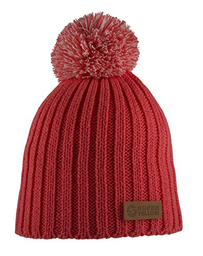 super-yellow-nordica-wool-bobble-beanie-red-one-size