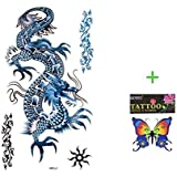 King Horse Blue Dragon Temporary Tattoos Waterproof Cool and fashion (tatuajes temporales)
