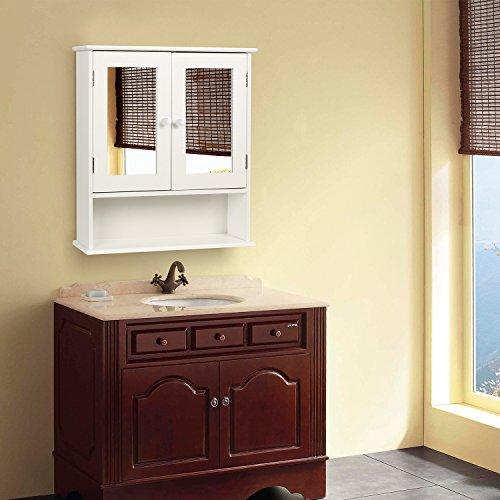 HOMFA Landhaus Spiegelschrank Hängeschrank mit 2 Spiegeltür Wandschrank Badschrank Küchenschrank Medizinschrank Wandboard Regal Weiß 56x13x58cm (Spiegelschrank Weiß) - 6