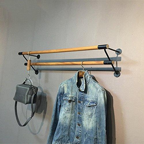 Massivholz Doppel Bar Wand-Coat Rack Retro Haken Wandgestell Kombination Kleiderständer Geeignet Für Wohnzimmer Schlafzimmer Studie Robuste / Zarte / Leicht Zu Reinigen (60 Cm, 80 Cm, 100 Cm, 120 Cm) (Doppel-haken Coat Rack)