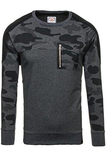 BOLF Herren Sweatshirt Rundhalsausschnitt Pullover sportlicher Stil 1A1 Anthrazit_0749