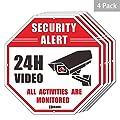 """4-Pack Videoüberwachungszeichen CCTV-Sicherheitswarnung, 12"""" Aluminium, wasserdichtes Warnzeichen"""