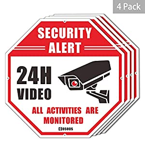 "cctv y alarmas: 4-Pack Video Surveillance Sign CCTV Security Alert, Octágono 12""x12"" Aluminio Re..."