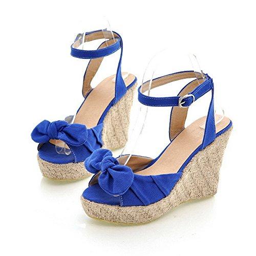 VogueZone009 Femme à Talon Haut Dépolissement Couleur Unie Boucle Sandales Bleu