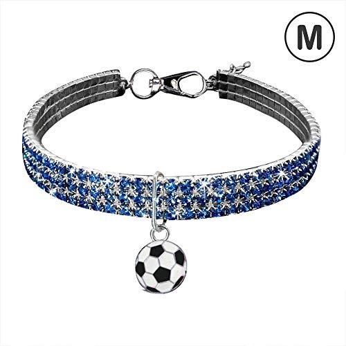 Luckybaby Football Series Haustier Hund Katze Halskette 3 Farbe Strass Metallhalsband mit Anhänger -
