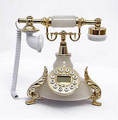 Xiuxiandianju Continental Antique Old Fashioned Faux Jade Corded Classic Desktop Push Button Dial Desk Telephone Phone Living Room Office Decor Great Gifts , white