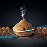 infinitoo 2019 500ml Essential Oils Diffuser, Wood Grain Ultrasonic Diffuser Auto Shut-Off Cool Mist Humidifier with 4 Modes Adjust Time, 7 Colors LED Lights for Baby Room, Home,Yoga, SPA, Office