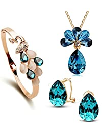 YouBella Crystal Jewellery Gold Plated Jewellery Set for Women (Golden)(YBCRS_Combo_00064)