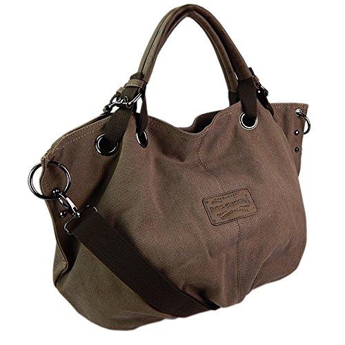 ekavale Canvas Handtasche Umhängetasche Leinwand Schultertasche Vintage Stoff-Tasche Shopper Damen -