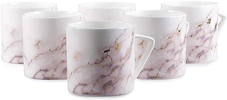 Sanjeev Kapoor Blush Ceramic Coffee Mug Set, 6-Pieces, Multicolour (SK-cm-Imperial-Blush)