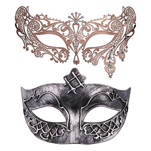 Thmyo Set von 2 Maskerade Maske für Paare, venezianische Karneval Kostüm Ball Maske (Antikes Silber & Roségold 4) (Karneval Kostüm Für Paare)