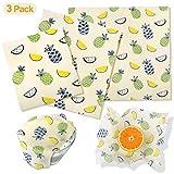 Emballages en Cire d'Abeille, Paquet de 3 Enveloppes Alimentaires Cire d'Abeille Réutilisables et Respectueux de l'Environnement Couvertures de Bol Lavables(Ananas)
