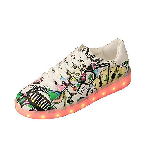 Graffiti LED-helle Schuhe Sommer und Herbst beiläufige Schuhe der Art und Weise sieben Farben ändern elf Arten des blinkenden Modus , green , 39 (Adidas-basketball-frau-schuhe)