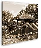 deyoli exotischer Pavillon mit Holzschildkröten Format: 60x60 Effekt: Sepia als Leinwandbild, Motiv fertig gerahmt auf Echtholzrahmen, Hochwertiger Digitaldruck mit Rahmen, Kein Poster oder Plakat
