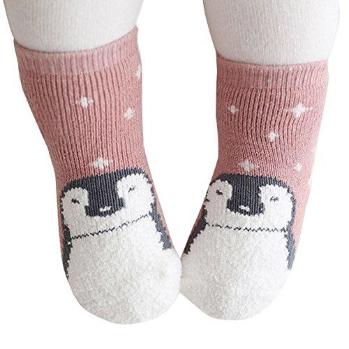 Fletion 2 Paar Baby Jungen Mädchen Gekämmte Baumwolle Socken Kinder Winter Warme Verdickte Wollsocken Plüsch Erstlingssöckchen Wintersocken, Rosa, S(0-2 Jahre)