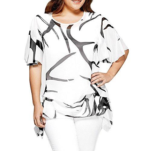 VEMOW Heißer Verkauf Elegante Damen Mädchen Frauen Bluse O Neck Ausgestellt Casual Täglichen Partei Sleeve Unregelmäßigen Saum Colorblock Plus Größe Top(Weiß, EU-48/CN-2XL) (Colorblock Cami)