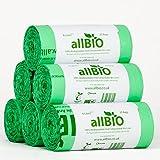 8 Litri x 150 sacchetti allBIO Sacchetti Pattumiera Organico 100% Biodegradabili e Compostabili 8 Litri / Sacchetti Contenitore Rifiuti