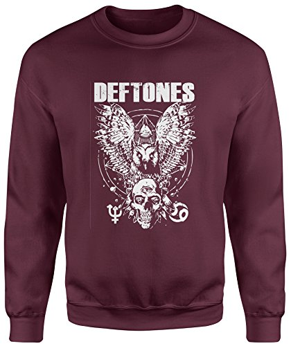 Felpa Unisex Deftones Artwork White - Felpa Set in girocollo LaMAGLIERIA Burgundy