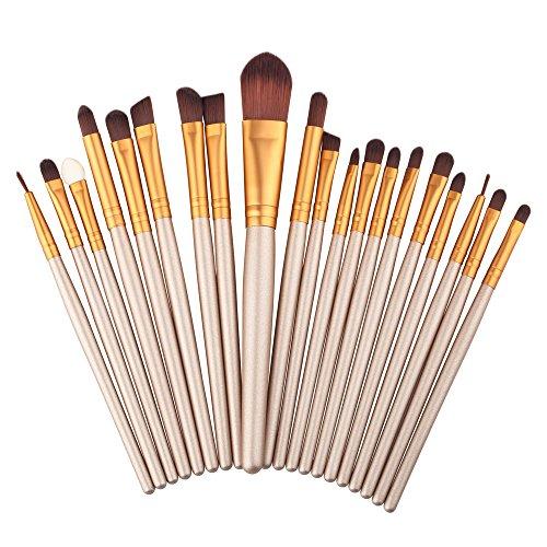 Professionnel 20 pcs/set Pinceau de Maquillage Fondation Outils Ombre à Paupières Eyeliner Lip Sourcils Pinceau Maquillage (Marron)