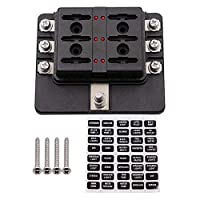 6-way fuse block, blade fuse box with waterproof cover & led warning  indicator