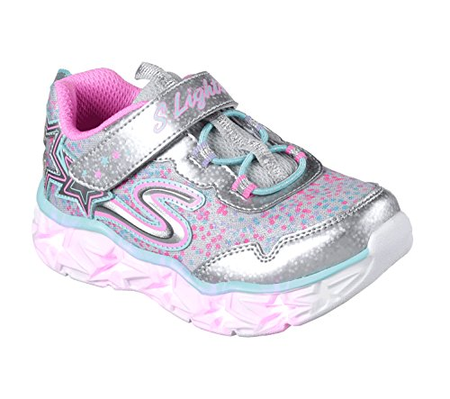 Skechers galaxy lights, sneaker bambina, multicolore (silver/multicolour), 35 eu