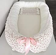 Babynest Kuschelnest Weiß Rosa Blumen