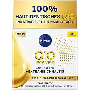 Crema de día Nivea Q10 Power para piel seca y muy seca, crema de día para arrugas atenuadas, crema hidratante intensiva…