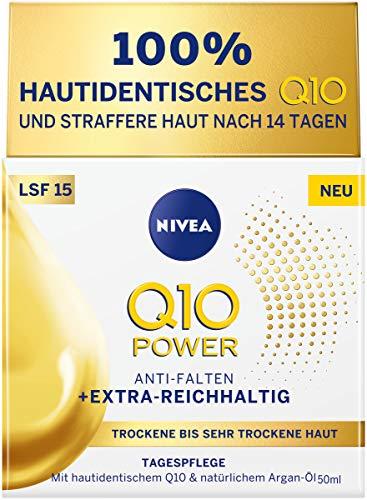 NIVEA Q10 Power Tagespflege für trockene bis sehr trockene Haut, Tagescreme für gemilderte Falten, intensive Feuchtigkeitscreme mit LSF 15, 1er Pack (1 x 50 ml)
