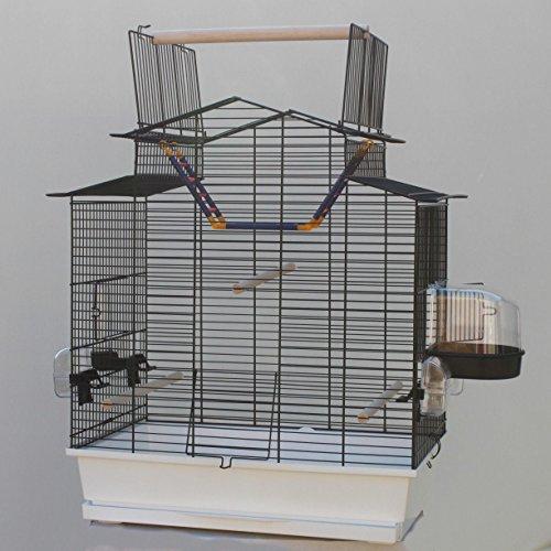 Heimtiercenter Weißer Vogelkäfig IZA III Cabrio Wellensittichkäfig,Exotenkäfig,Vogelkäfig Vogelbauer Wellensittich Kanarien Voliere Vogelhaus Käfig incl. Badehaus und Trinkröhrchen …
