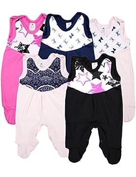 Baby Strampler mit Print 100% Baumwolle Babystrampler Jungen Strampelanzug Mädchen im 5er PACK