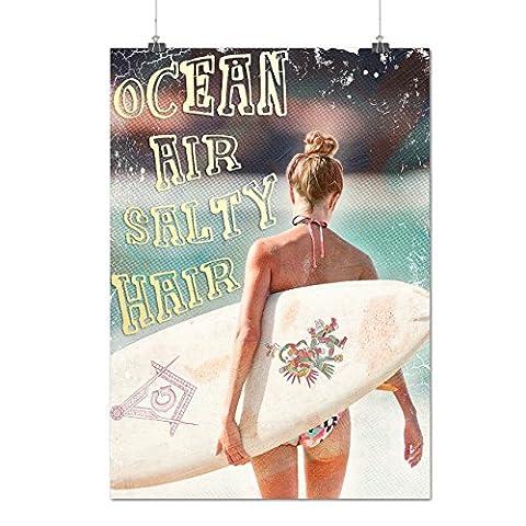 Ocean Sea Girl Holiday Surf Life Matte/Glossy Poster A3 (42cm x 30cm) | Wellcoda