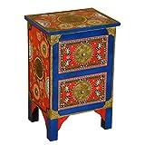 Orientalisches Sideboard von handbemalter Kommoden-Schrank aus Massivholz mit 2 Schubladen | Flurschrank Apothekerschrank Indian Style Schrank Dielenschrank | Kommode Shiva