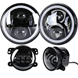 ZHUOYUE 1 Satz 7Inch Daymaker Runde LED Scheinwerfer + 4 Zoll LED Nebelscheinwerfer Für 97-2017 Jeep Wrangler JK LJ TJ CJ Sahara Rubicon Freiheit Edition Unlimited Altitude Dragon,Model1