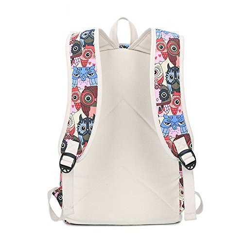 Eule Gedruckter Beiläufiger Segeltuch Rucksack Schultasche Laptop Tasche Rucksack für Jugendlich Junge Mädchen Red Owl Set