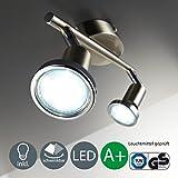 Foco LED de techo / Lámpara de techo / Foco / GU10 / 3vatios / 250lúmenes / orientable / incluye anillo cromado / níquel mate, níquel mate, GU10 6.00 wattsW[Clase de eficiencia energética A+]
