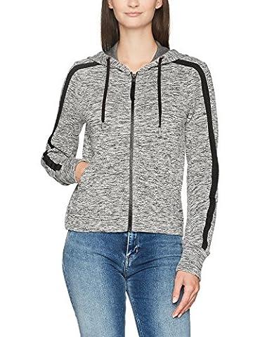 Calvin Klein Jeans Damen Kapuzenpullover Hava Logo Hooded Zip Through Schwarz (Black Heather 901), Large