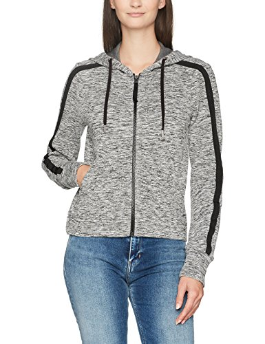 Calvin Klein Jeans HAVA Logo Hooded Zip Through, Cappuccio Donna, Nero (Black Heather 901), Large