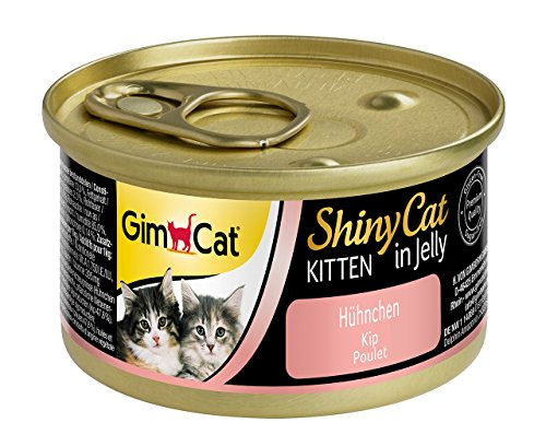GimCat ShinyCat Kitten in gelatina Pollo - Cibo per gattini oltre le 8 settimane di vita - Tenero pollo in gelatina - Ricco di proteine - 24 x 70g
