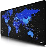 Titanwolf - XXL Gaming Mauspad 900x400 mm - Tischunterlage mousepad groß - Präzision und Geschwindigkeit - Gummiunterseite - rutschfest strapazierfähig wasserabweisend - Weltkarte schwarz blau