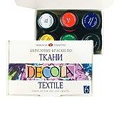 Acryl Textilfarbe Hochwertig - Zur Auswahl: 6 oder 12 Farben je 20 ml - Stofffarben waschfest - Nevskaya Palitra (6er Set)